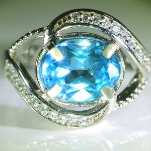 Jewelry - Blue Topaz 2.20ct Platinum Solid Silver Ring